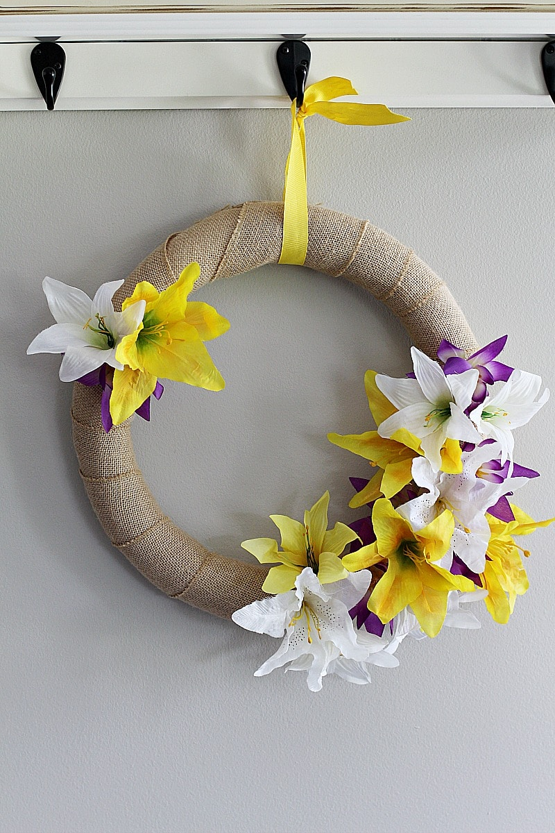 My Dollar Store DIY Floral Spring Wreath Craft