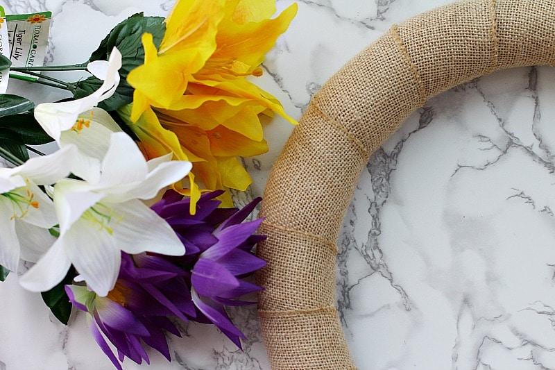 My Dollar Store DIY Floral Spring Wreath Craft