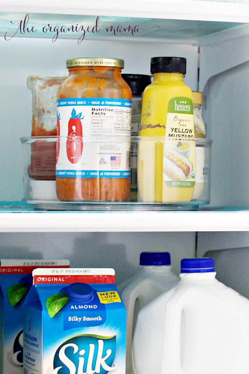 lazy susan in fridge for organization