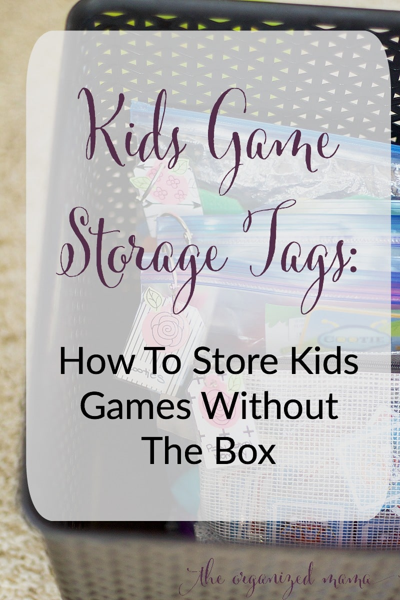 kids game storage tags