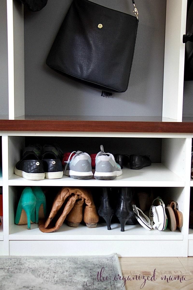 shoe storage in a functional mud room