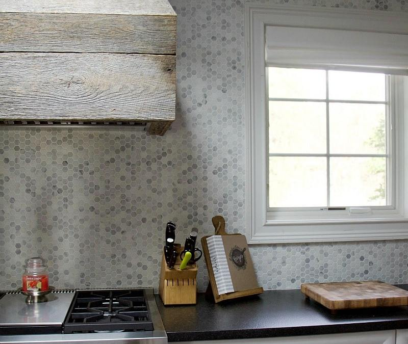 white kitchen inspiration wood hood