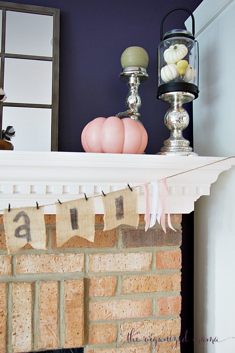 pink pumpkin fall mantel pastel
