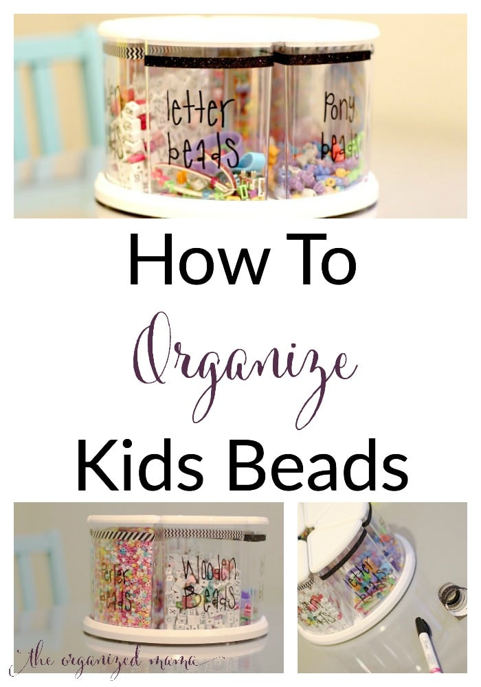 Kids love art but you hate the mess? Learn how to organize kids beads from a professional organizer! #organize #organized #kidsart