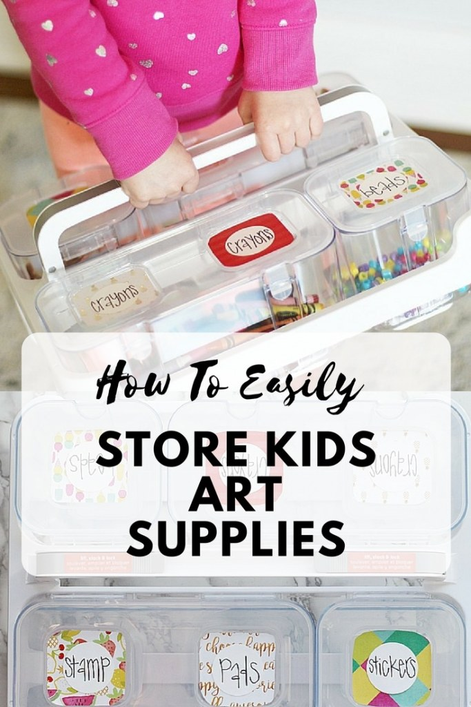 Learn tricks on how to easily store kids art supplies from a professional organizer! Not only is the storage cute, but it is totally functional! #kids #artsandcrafts #organize