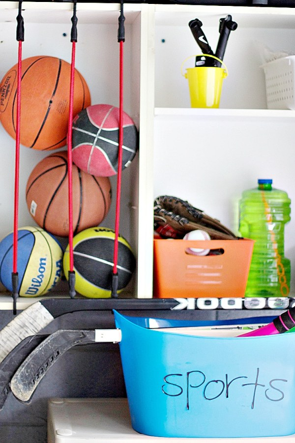 garage storage with balls and bubbles