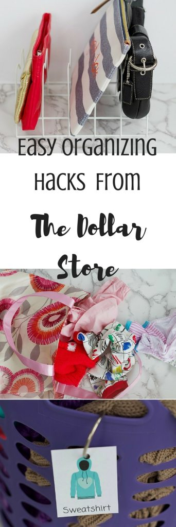 Learn how to get your home organized with items all found at The Dollar Store, with these easy organizing hacks created by professional organizer. Everything from kids clothes to doll accessories to purses to games! #organized #dollarstore
