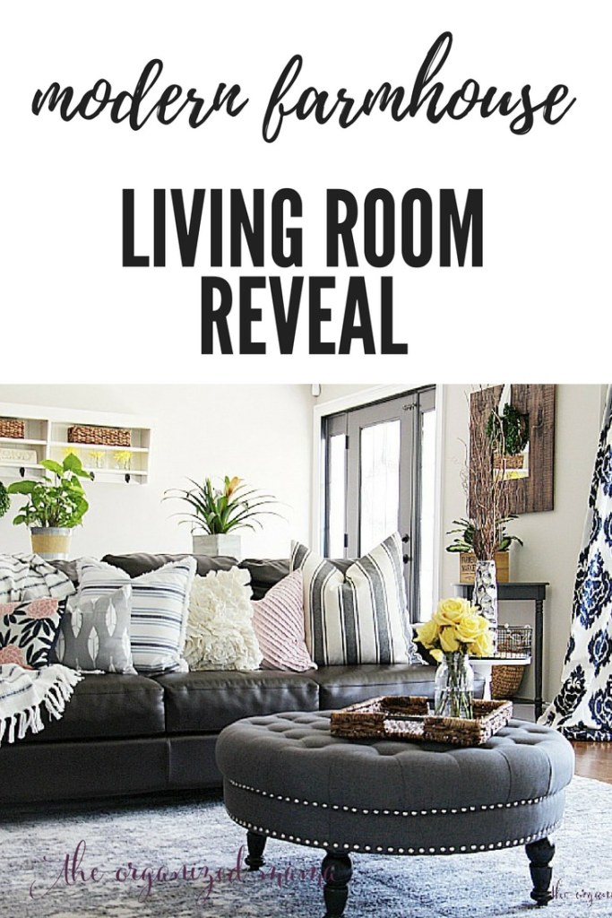 Check out inspiration for creating a modern farmhouse living room. With product links and tips for painting a fireplace, swapping out electrical outlets, and styling the room on a budget, you'll be able to set up your living room easily! #modernfarmhouse #livingroom #orc