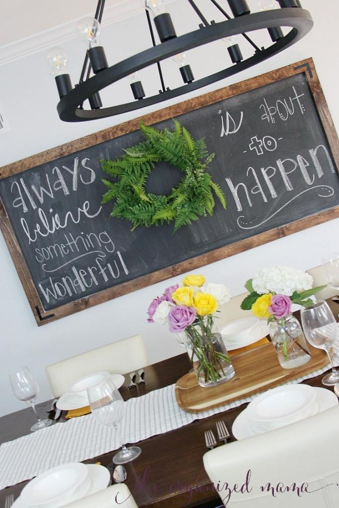 simple extra large chalkboard with quote always believe something wonderful is about to happen