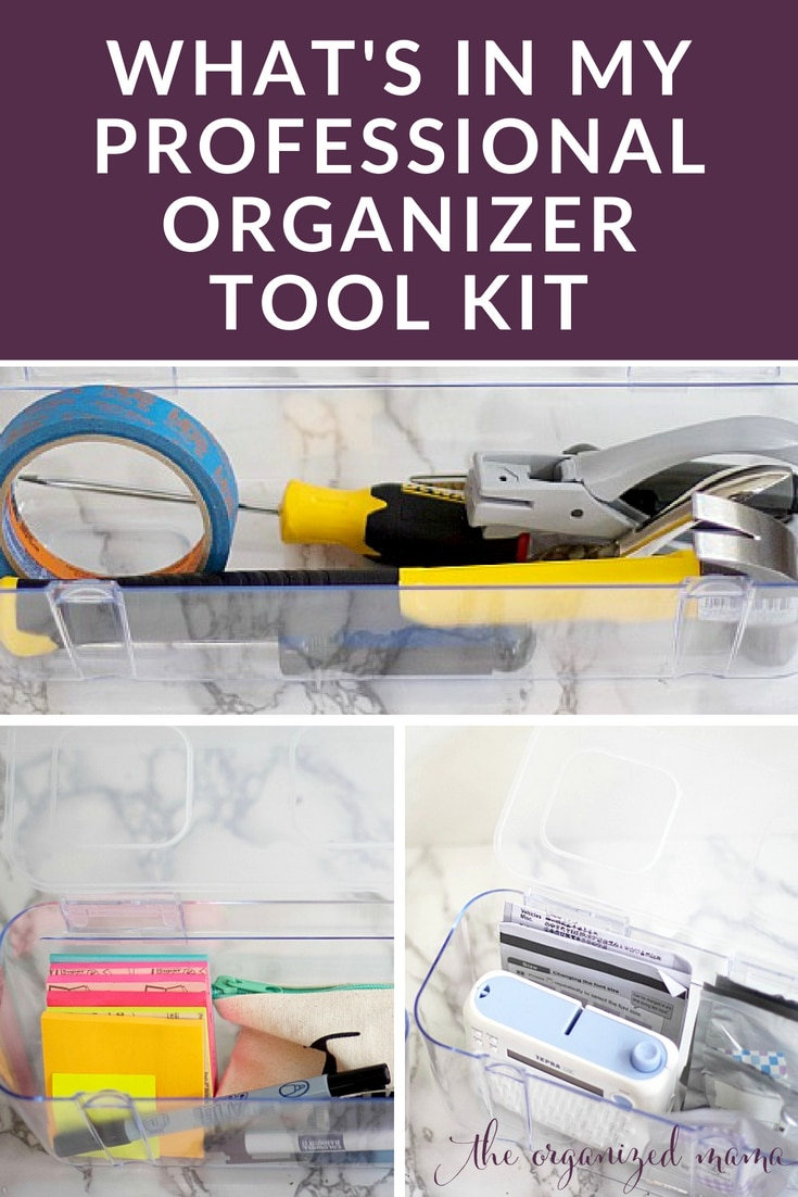 Professional organizer breaks down what she brings with her when working with clients in residential homes and calls it a professional organizer tool kit. #professionalorganizer #organized #toolkit