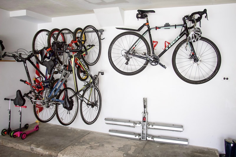 garage bike storage hanging all bikes