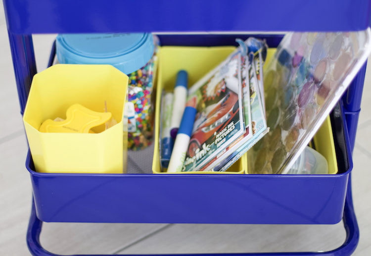 Learn tips for setting up an art cart for kids that makes it both accessible and easy to maintain. Breaking down how to create cart for kids of all ages. #artcart #organized