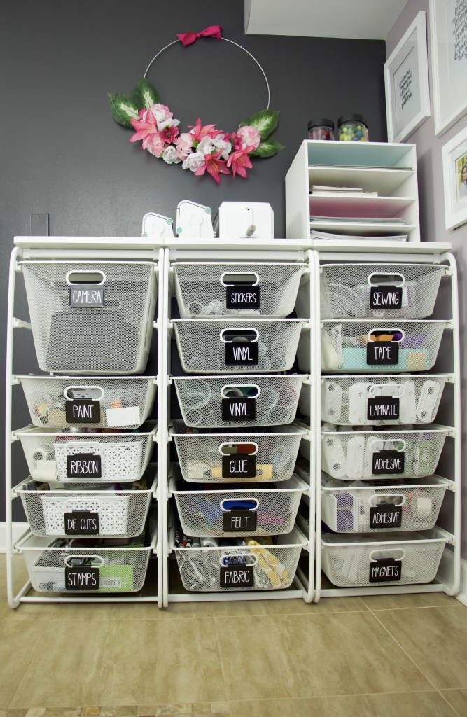 Elfa drawers with black labels and white lettering to hold craft supplies. #officeorganization