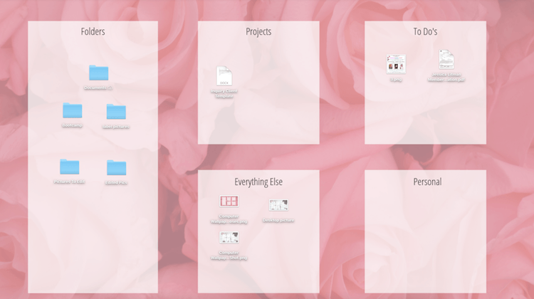 Rose background computer digital project plan example with areas for folders, projects, everything else, and to do lists #projectplanner #planned
