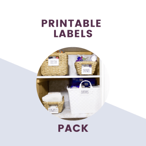 printable labels pack text with picture of labels on baskets