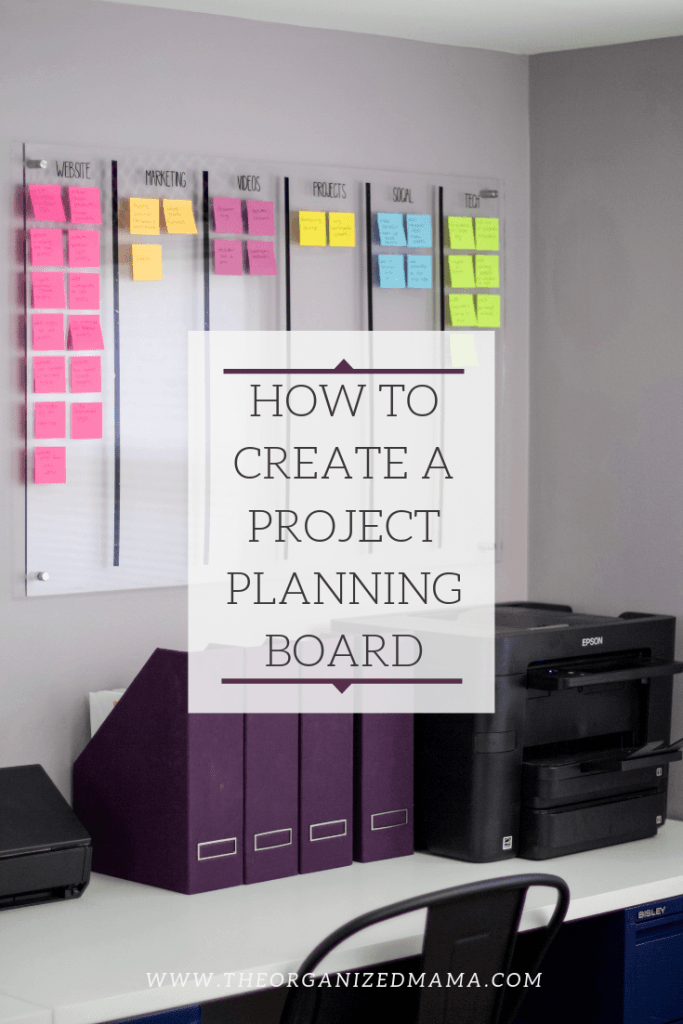 Learn tips on how to create a project planning board like the one pictured which is acrylic boards broken into categories with colorful post it notes for each individual task for each category. #organized #projectplanning