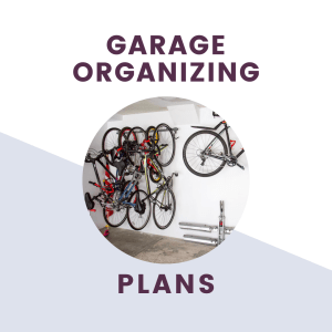 garage organizing and design plans with picture of bikes hanging on wall