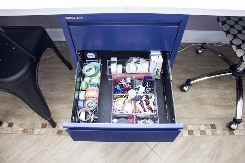Office drawer open with easyliner and drawer organizers to keep drawers tidy