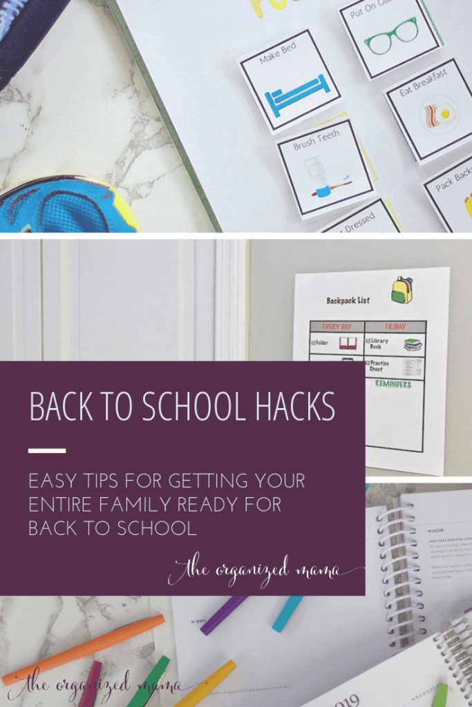 back to school mom hacks overlay with graphics of free printables including backpack checklist and morning routine checklist