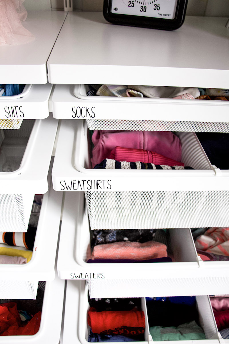 using labels on drawers to demonstrate labels helping to getting kids to clean up