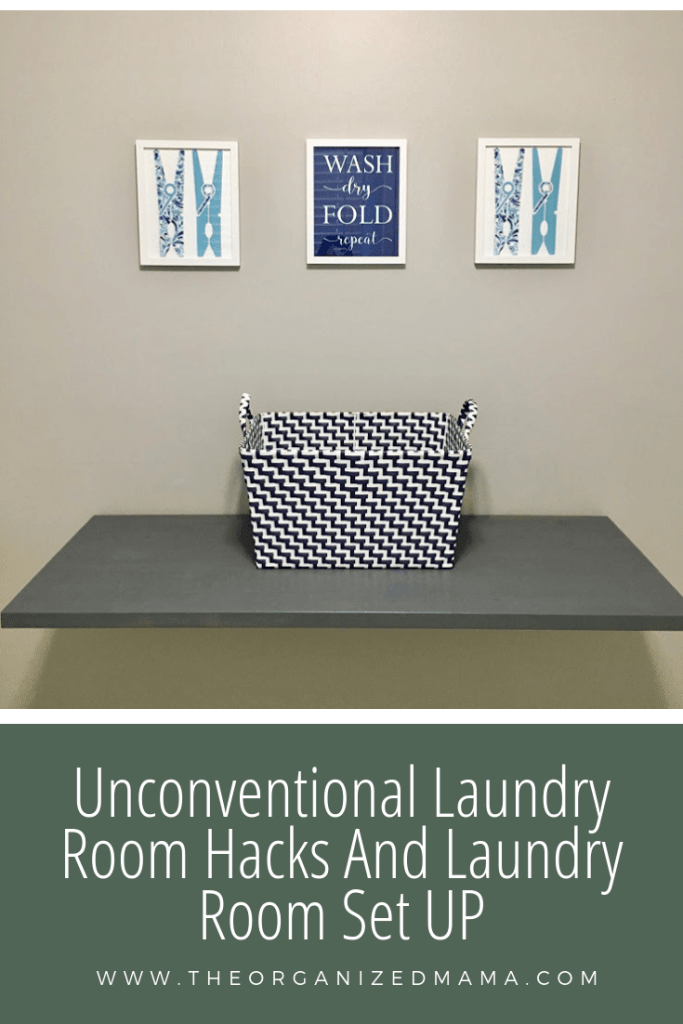 Unconventional laundry room hacks and laundry room set up overlay with DIY folding table and back on top #laundryroom #laundry #hacks