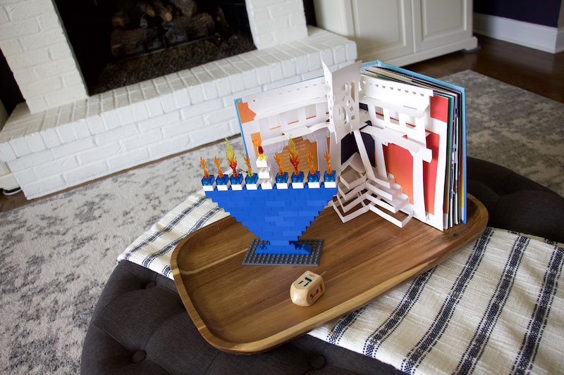 Lego Hanukkah Menorah with book and dreidle