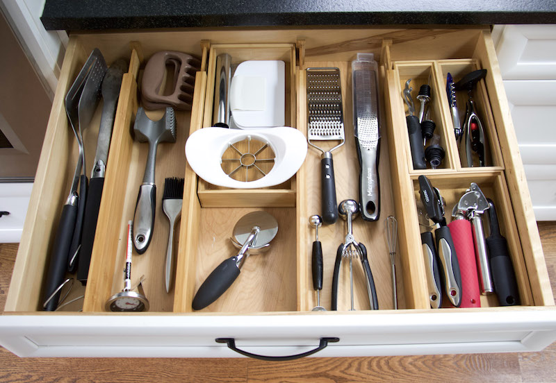 organized kitchen utensils using drawer dividers and bamboo boxes #kitchen #organized