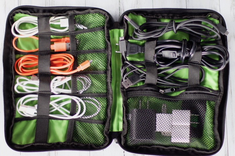 how to create extension cord storage along with other cord storage in travel cord organizer