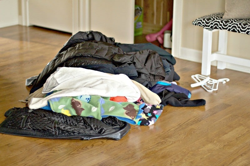 Sorting like with like starting with jackets #organize #mudroom