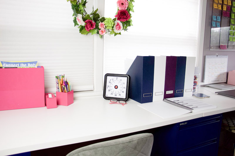 workspace with magazine holders and visual timer