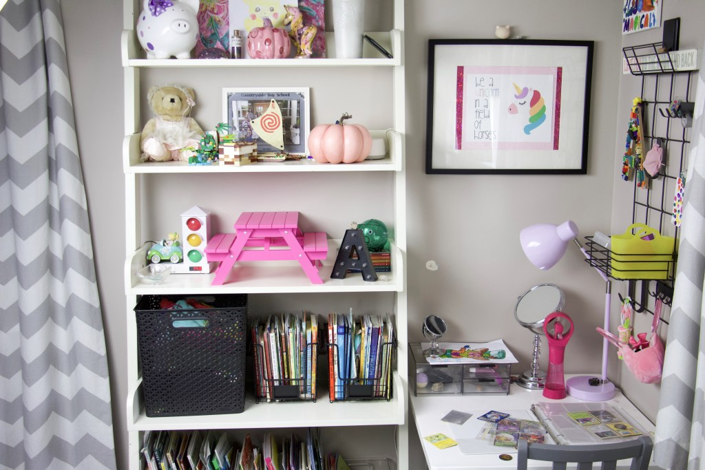 shelving and desk in elementary girls bedroom for one room challenge