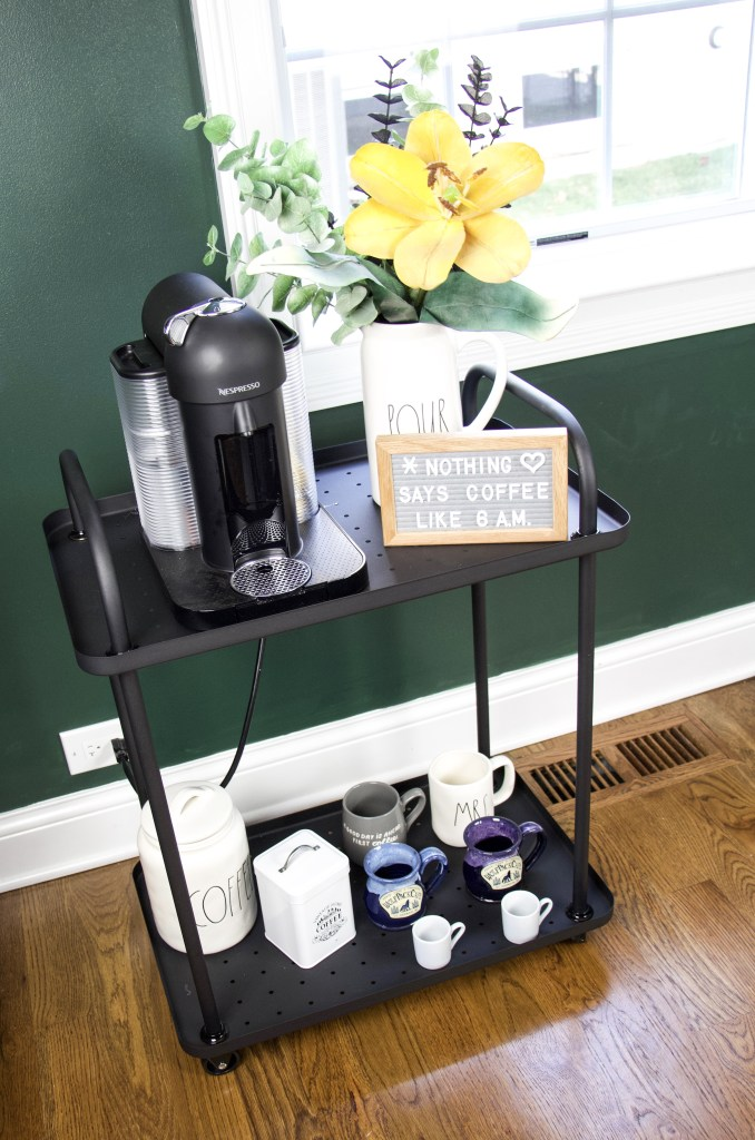 bar cart decor as a coffee cart