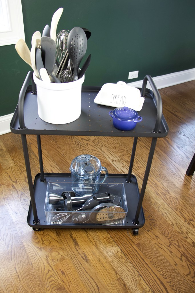 bar cart as a kitchen prep cart
