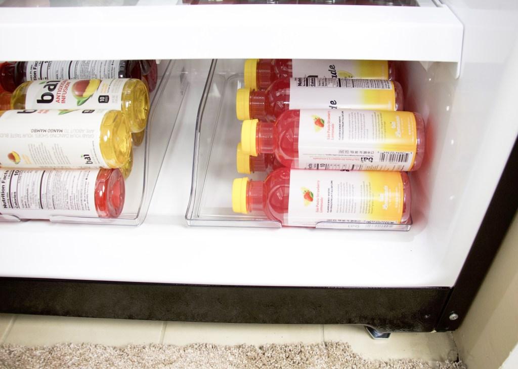 close up of beverage bottle organizers with lemonade bottles