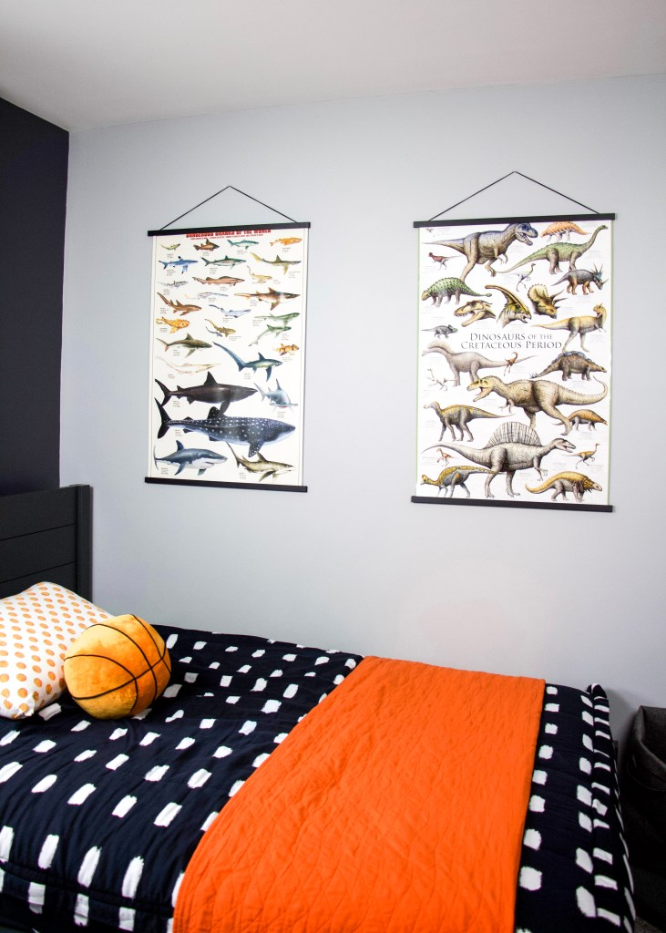 shark and dinosaur poster hanging on wall with magnetic poster hangers in boys room ideas