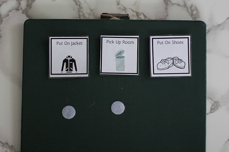 add velcro to back of clipboard for completed tasks