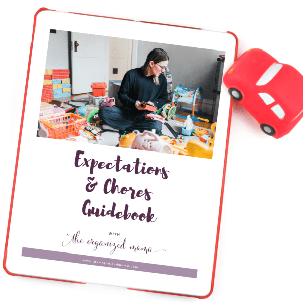 expectations and chores guidebook cover on ipad with toy car next to it