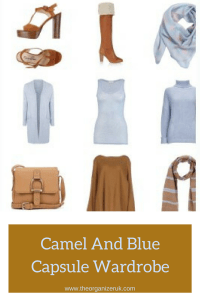 camel and blue capsule wardrobe