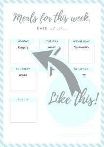 Weekly meal planning calendar