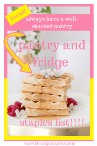 pantry staples list printable. a tower of waffles with raspberrys and flowers