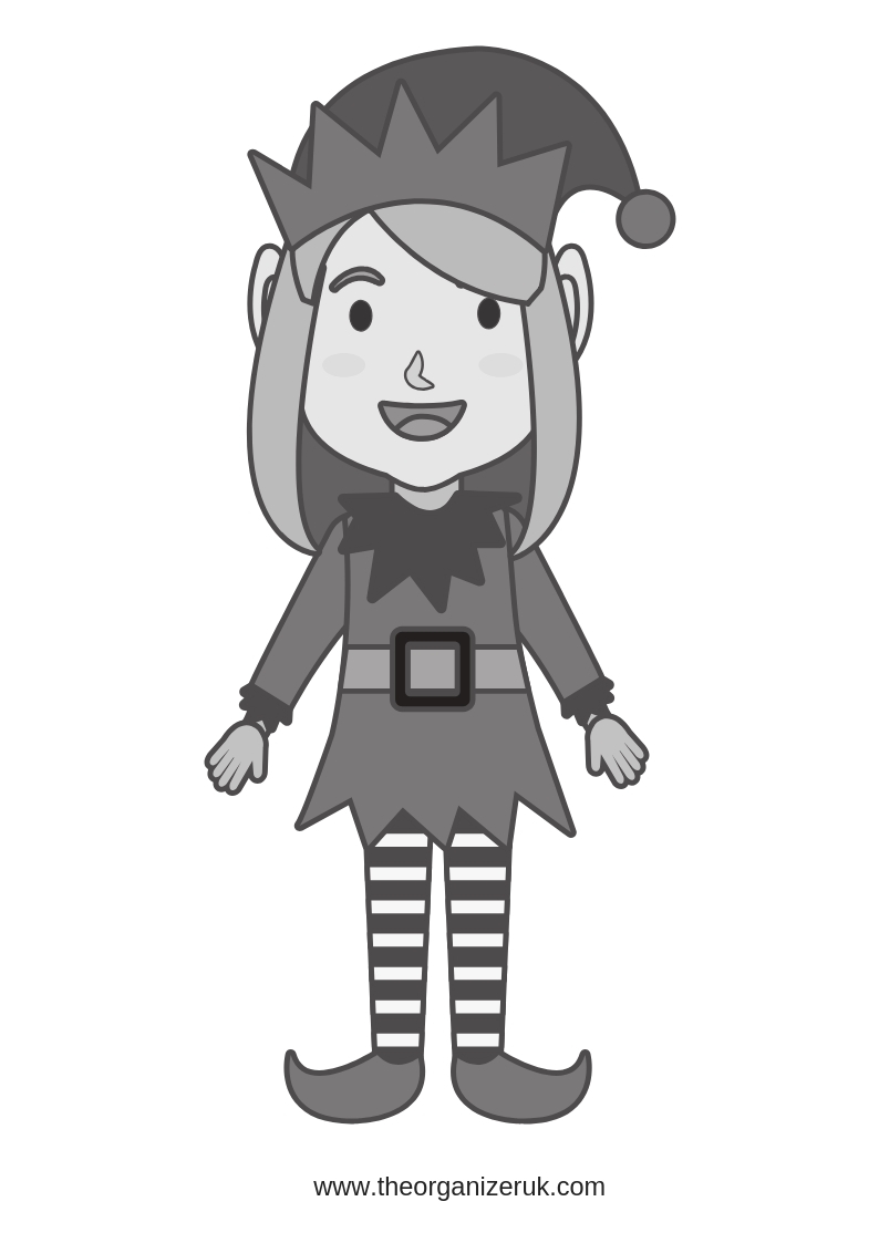 elf colouring pages . picture of a girl elf to colour