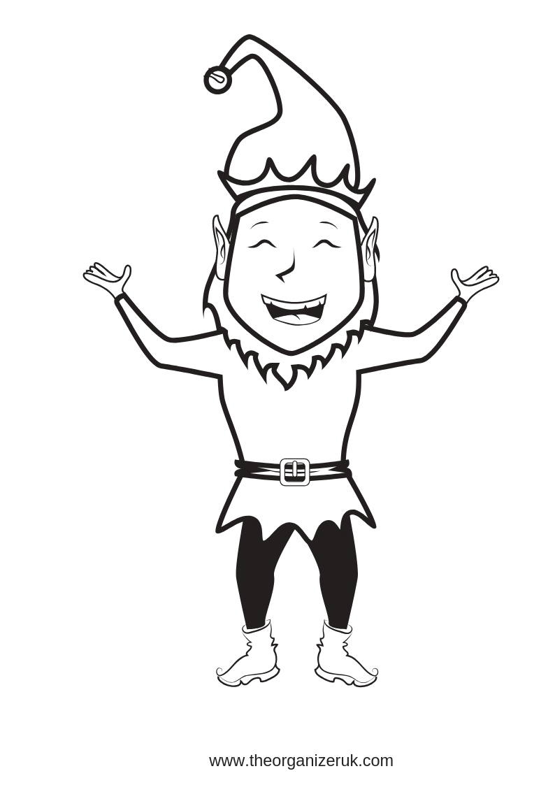 funny elf colouring pages