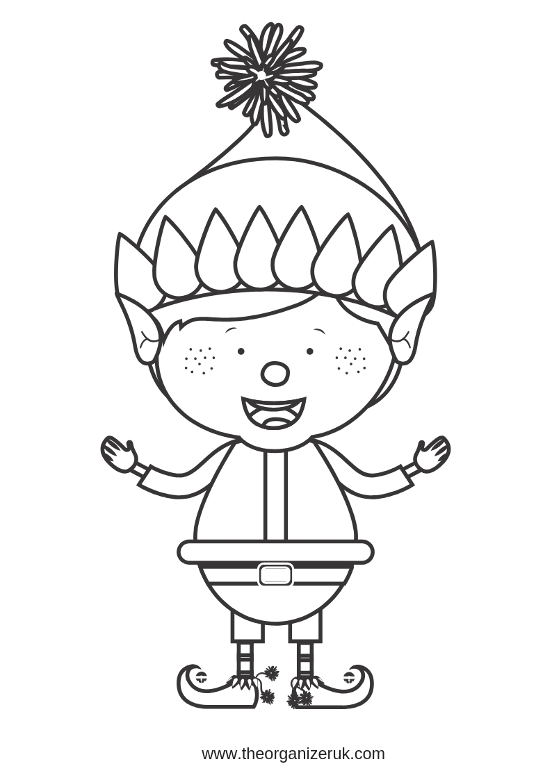 elf colouring pages