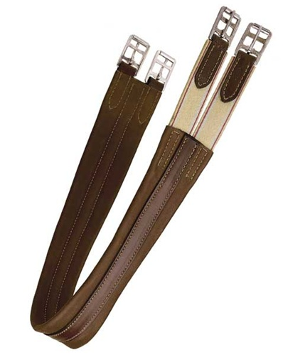 Tory Leather Contour English Girth with Elastic. Heavy Duty Leather Girths at TOHTC.com