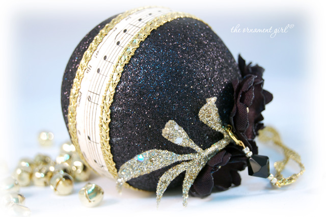Black and Gold Ornament  Black Christmas Ball  O Holy Night