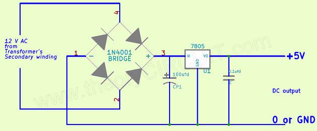 DIY Power Bank Circuit Diagram Using 7805 Voltage Regulator ICdiy