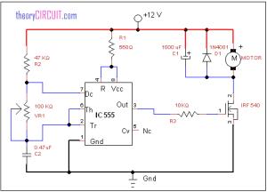 DC motor speed control using IC 555