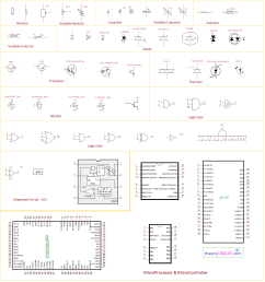 electronic components and circuit diagram symbols temperature switch symbol the schematic symbols used [ 1387 x 1477 Pixel ]