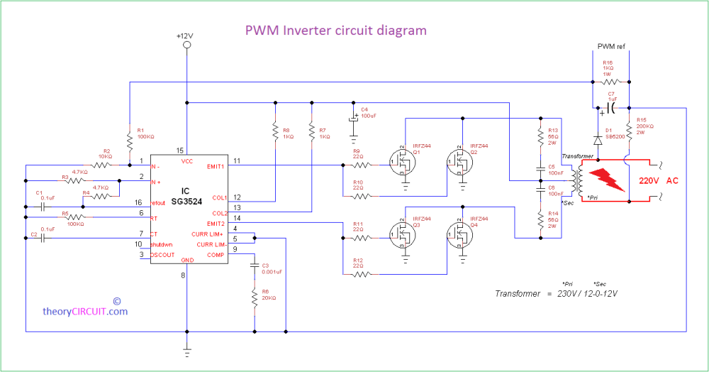 medium resolution of pwm inverter circuit diagram using ic sg3524 and mosfet