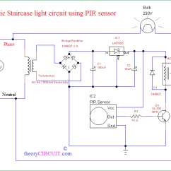 Pir Switch Wiring Diagram Kubota Generator Circuit Schematic Automatic Staircase Light Using Sensor 6